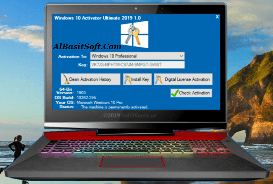 Windows 10 Activator Ultimate 2019 1.1 With Crack Free Download(AlbasitSoft.Com)