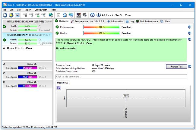 Hard Disk Sentinel Pro 5.50 Build 10482 Beta With Crack(AlBasitSoft.Com)