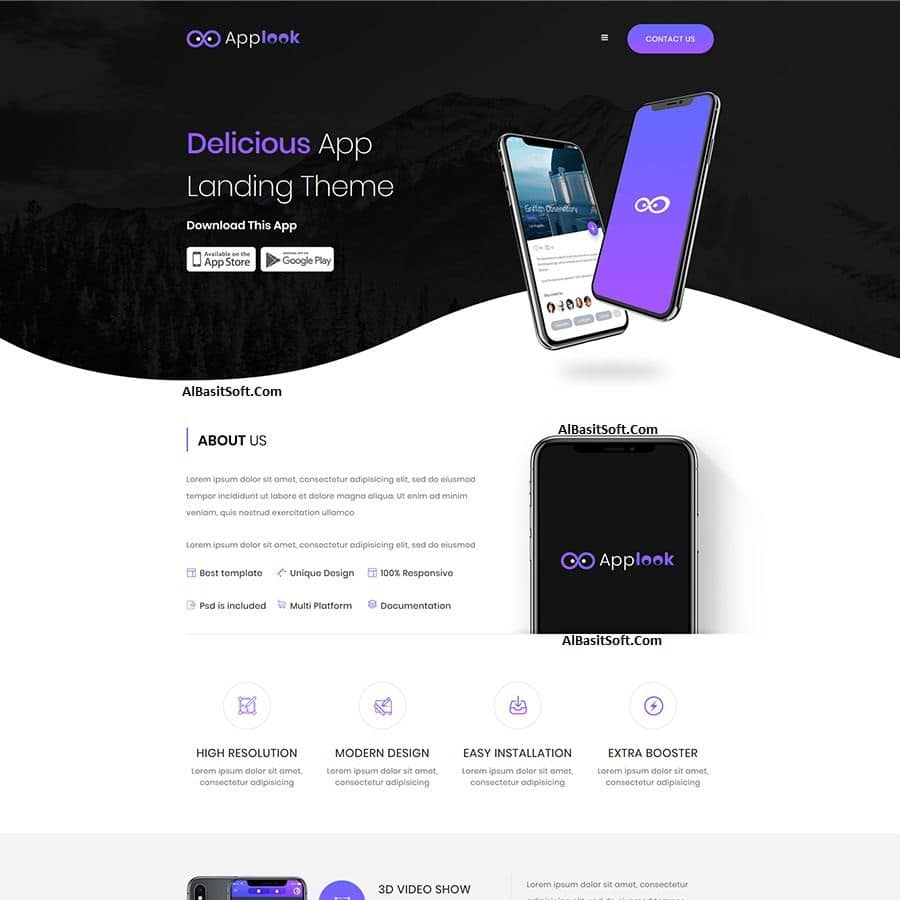 Applook - App Landing Page Free Download(AlBasitSoft.Com)