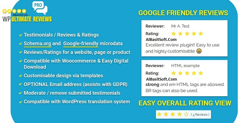 WP Ultimate Reviews Pro - WordPress Plugin Free Download(AlBasitSoft.Com)