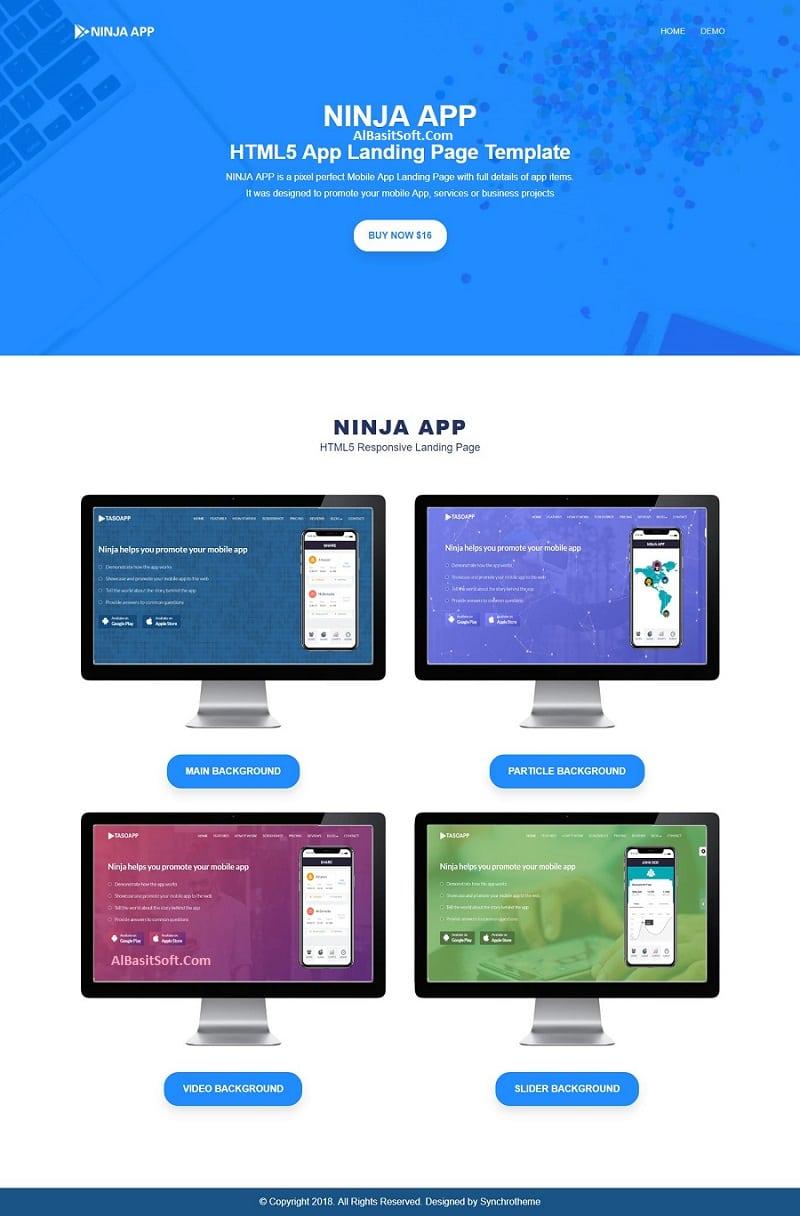 Ninja App - App Landing Page HTML Free Download(AlBasitSoft.Com)